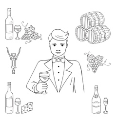 Young man tasting a glass of wine vector image