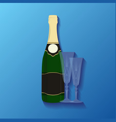 a bottle of champagne and glasses for your creat vector image