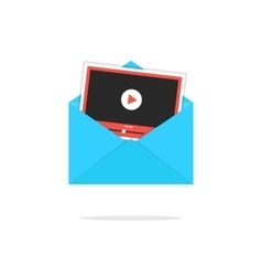 blue open envelope with video player card vector image