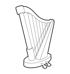 Harp icon outline isometric style vector image