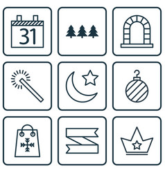 set of 9 new year icons includes arch date vector image