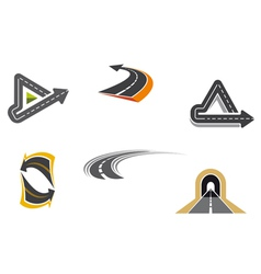 Set of road and highway icons vector image vector image