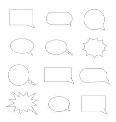 set of speech bubbles chat bubbles black line vector image
