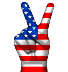 victory symbol and american flag on human hand v vector image