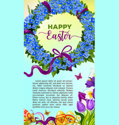 easter egg and flower wreath cartoon poster vector image vector image