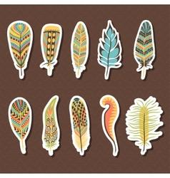 Set of ten feathers vector image vector image