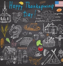 Thanksgiving doodles set Traditional symbols vector image vector image