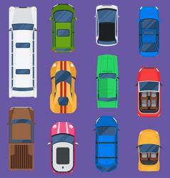 top view different automobiles vehicle set vector image