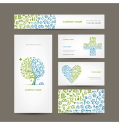 Business cards with medical objects for your vector image vector image