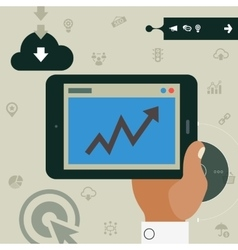 Concept of hand holding tablet with statistic app vector image vector image