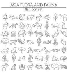 flat asian flora and fauna elements animals birds vector image