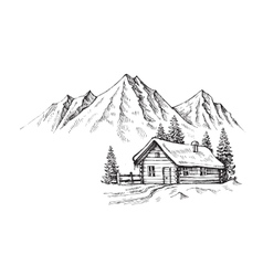 Hand drawn mountains vector image vector image