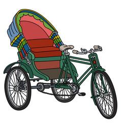 Old green cycle rickshaw vector