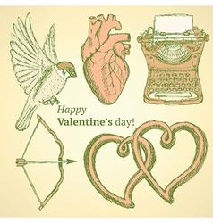 Sketch cute Valentine set vector image