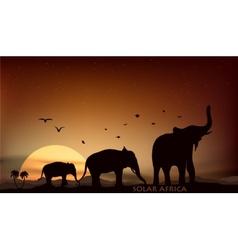 Sunrise and sunset over the savannah vector