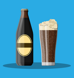 Bottle of dark stout beer with glass vector