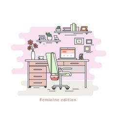Feminine workplace room interior vector image vector image