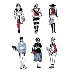 set of stylish people with gadgets at street vector image vector image