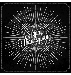Thanksgiving with sunburst on black background vector image vector image