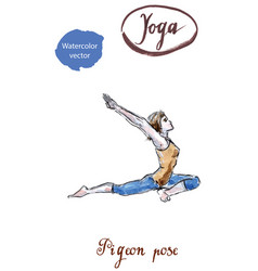 woman practicing yoga entering in king pigeon pose vector image