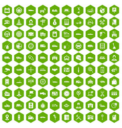100 auto icons hexagon green vector image