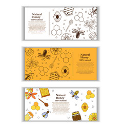 3 banners with honey and propolis objects vector