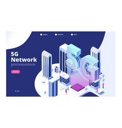 5g network concept city with 5g wireless internet vector