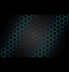 abstract blue light hexagon line in grey modern vector image