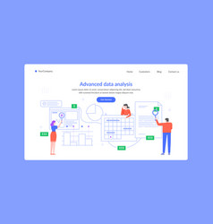 advanced data analysis landing page team research vector image