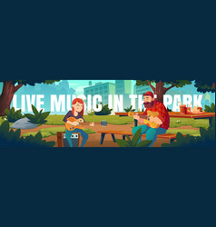 Artists play live music in park cartoon banner vector