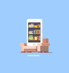Audio book concept phone vector