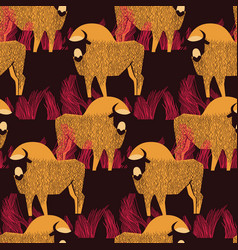 bison in a field in high grass seamless pattern vector image