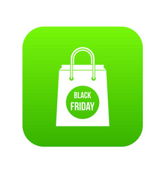 black friday shopping bag icon digital green vector image