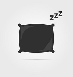 Black pillow with sleep zzz icon vector
