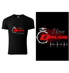 Black t-shirt with drum and sound wave vector