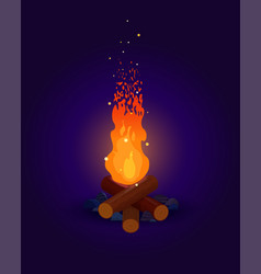 Bonfire with flying sparks on dark background vector