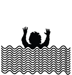 Boy in water silhouette vector