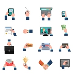 Business Hands Icons Flat Set vector