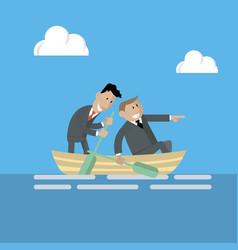 Business people are swimming on a boat vector