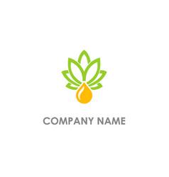 Cannabis leaf oil nature logo vector