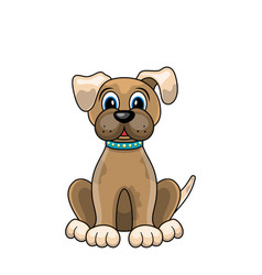 Cartoon dog sitting in collar isolated on white vector