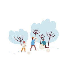 cartoon family making snowman together flat vector image