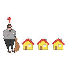 cartoon thief man with face masked with sack and vector image