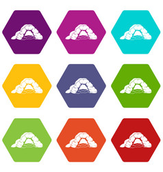 Cave icons set 9 vector