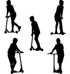Child riding scooter vector