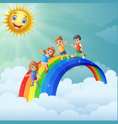 Children standing over the rainbow with smiling su vector