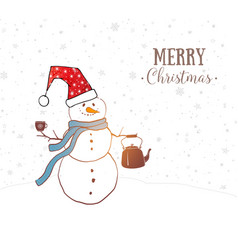 christmas card with cute snowman with smoking vector image
