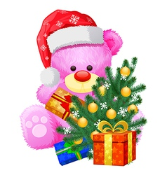 christmas teddy bear vector image