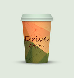 coffee cup in low poly style vector image