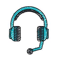 Color crayon stripe cartoon headphones with vector